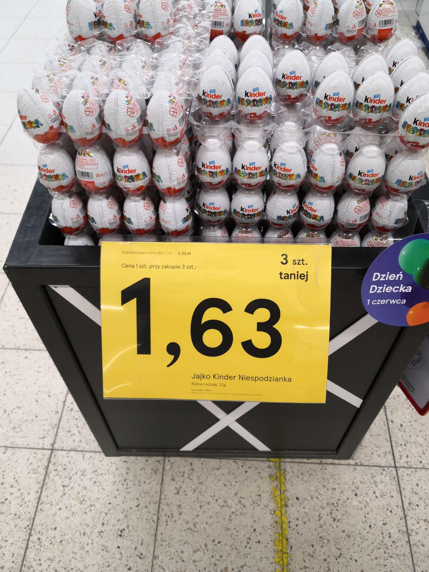 Jajko niespodzianka 1,63zl/szt przy zakupie 3szt -Tesco