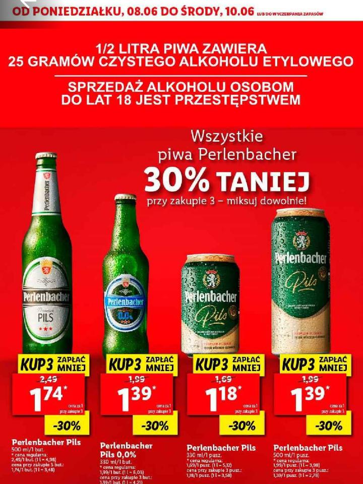 Wszystkie piwa Perlenbacher 30% taniej. Lidl