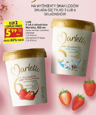 Marletto Lody 5 lub 6 składników 500 ml 5,99 zł / szt. przy zakupie 2 szt. @Biedronka
