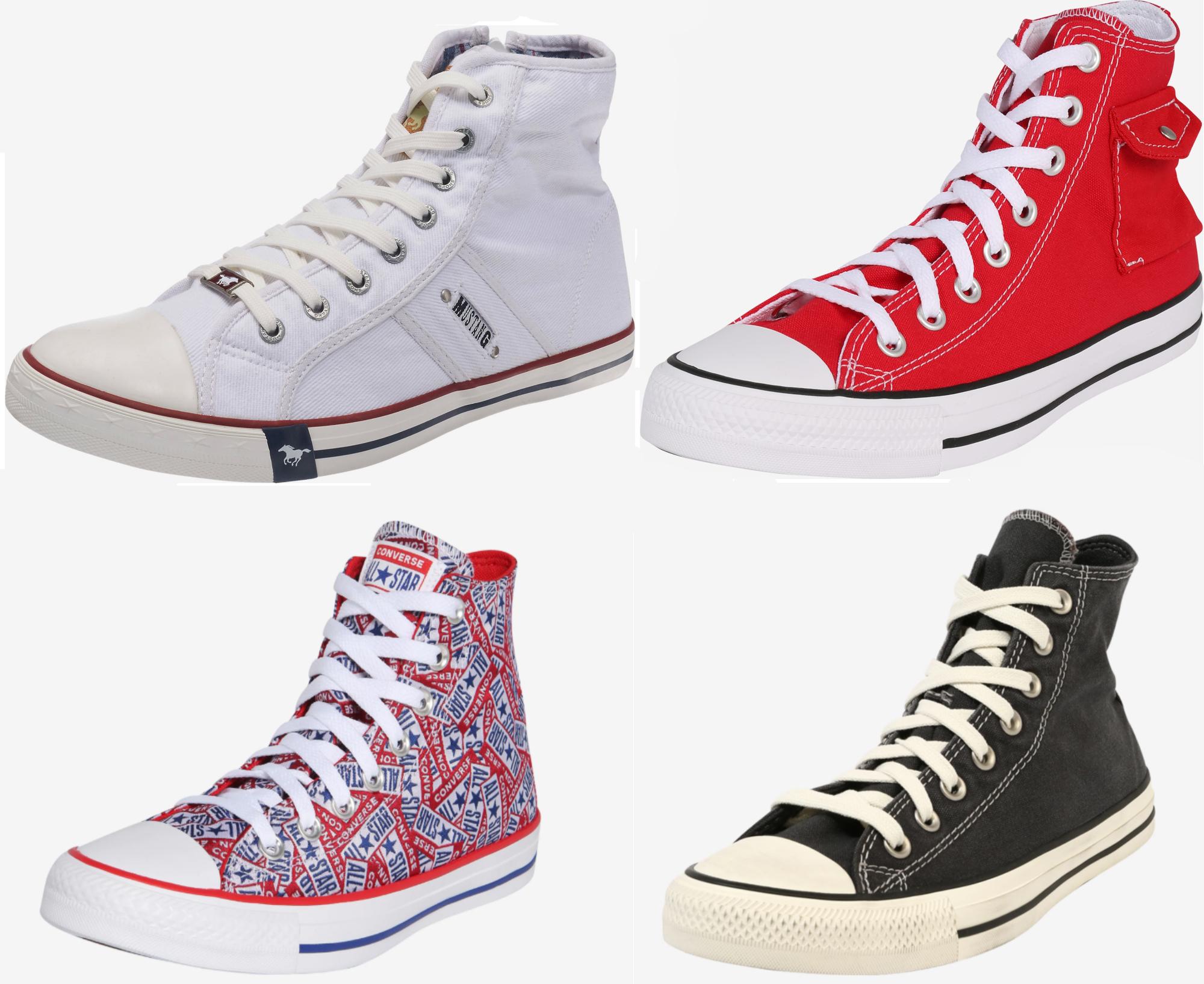Zestawienie butów trampki wysokie: Converse, Mustang dla Niej i dla Niego