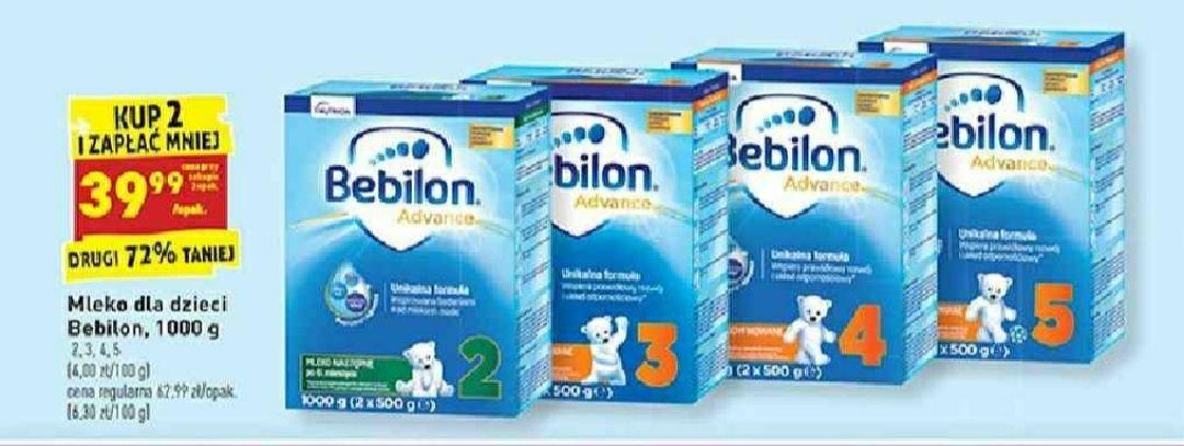 Biedronka mleko Bebilon 2,3,4,5 1000g cena 39,99 przy zakupie 2 opakowań