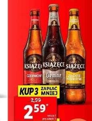 Piwo KSIĄŻĘCE czerwone/ciemne/złote 500ml, przy zakupie 3 + inne piwa LIDL