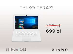 Laptop Kiano SlimNote 14.1 za 699 zł (Intel Atom Z3735F, 2GB DDR3, 32 GB Flash, Win 10)