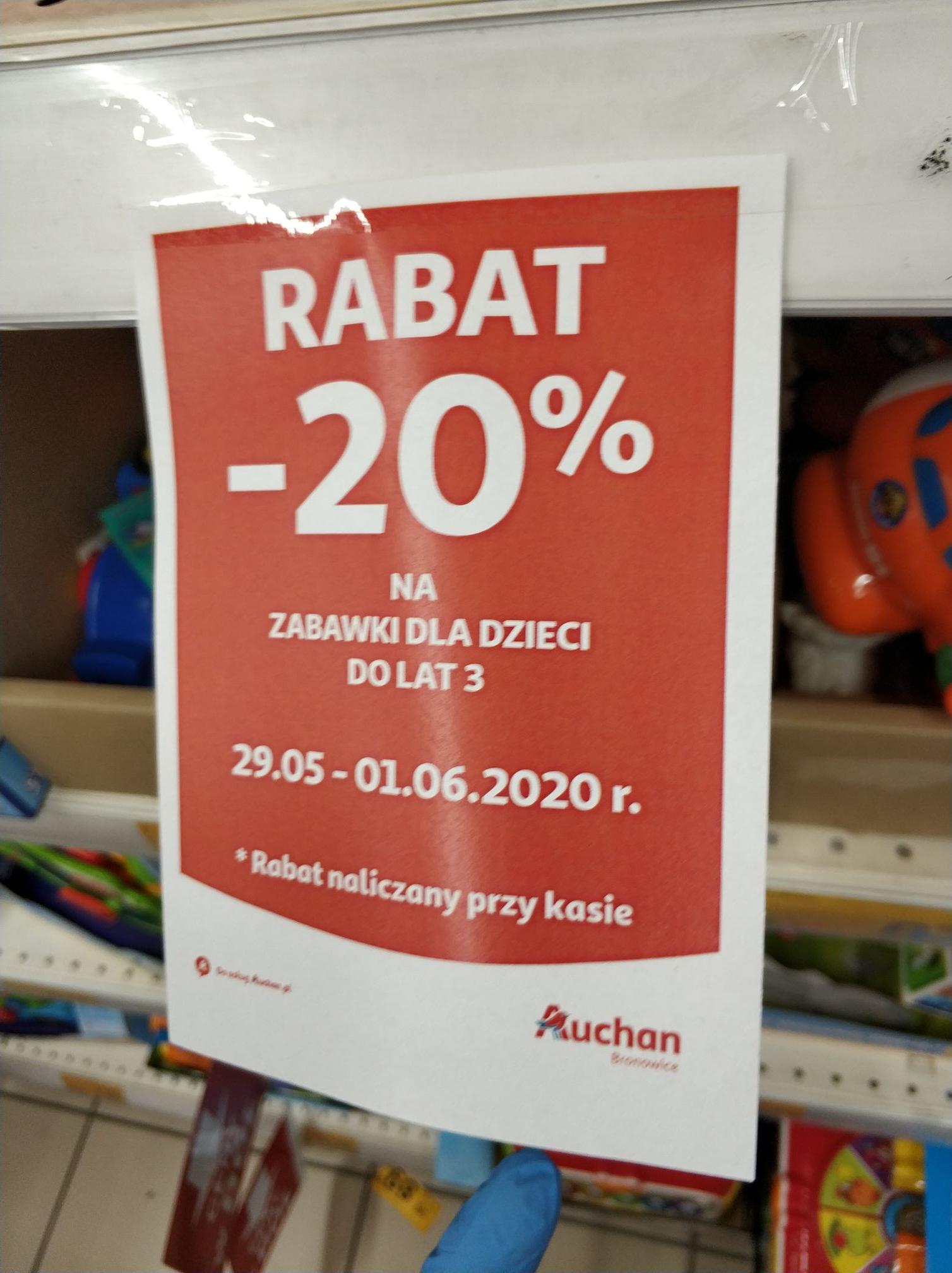 Auchan Rabat 20% na zabawki dla dzieci do lat 3