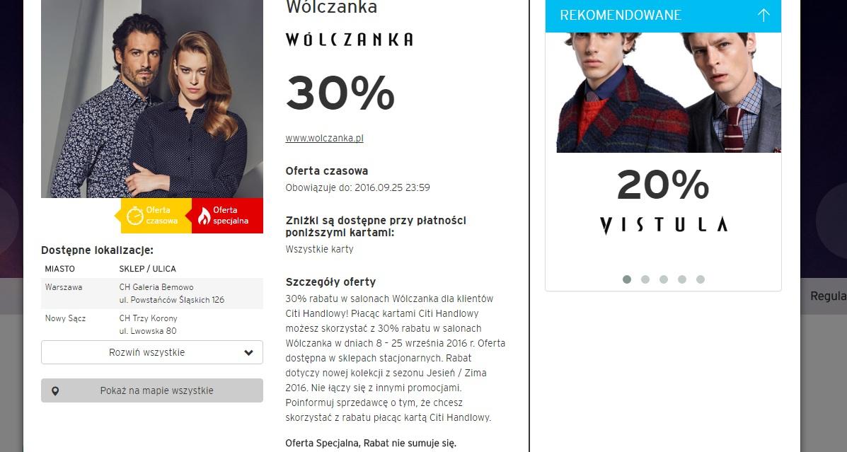Rabat w wólczance 30% z kartą CitiBanku