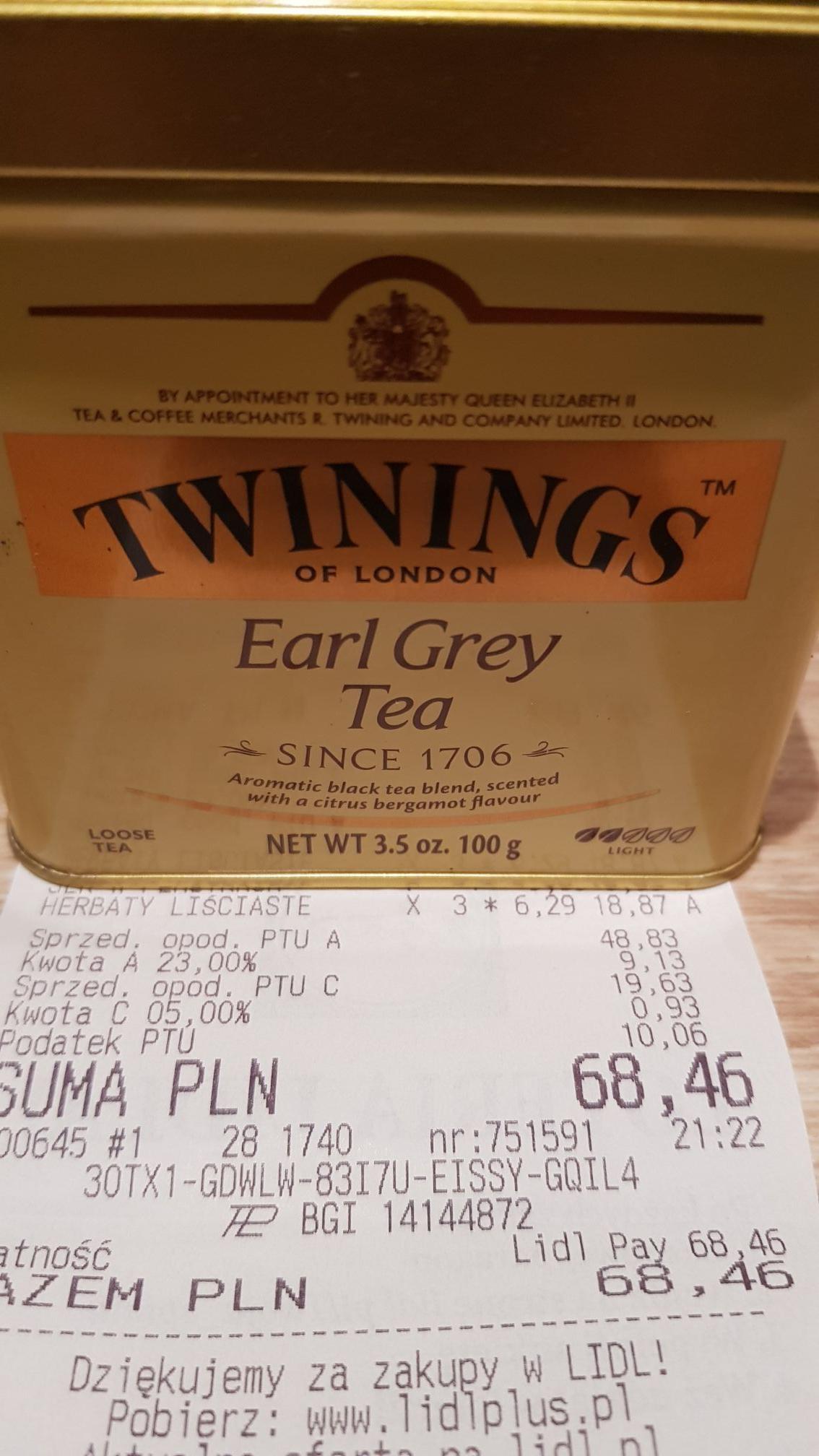 Herbata liściasta Twinings Earl Grey - Lidl