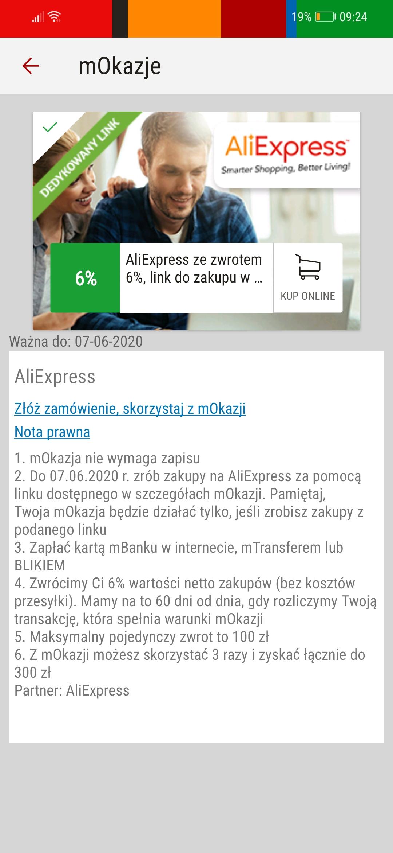 mBank mOkazje cashback 6% zwrotu za zakupy na Aliexpress