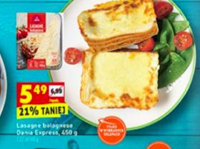 Lasagne bolognese Dania Express 450 g. za 5,49 zł. Biedronka