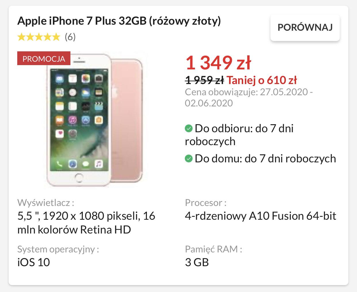 Apple iPhone 7 Plus 32GB (różowy złoty) taniej o ponad 600zł