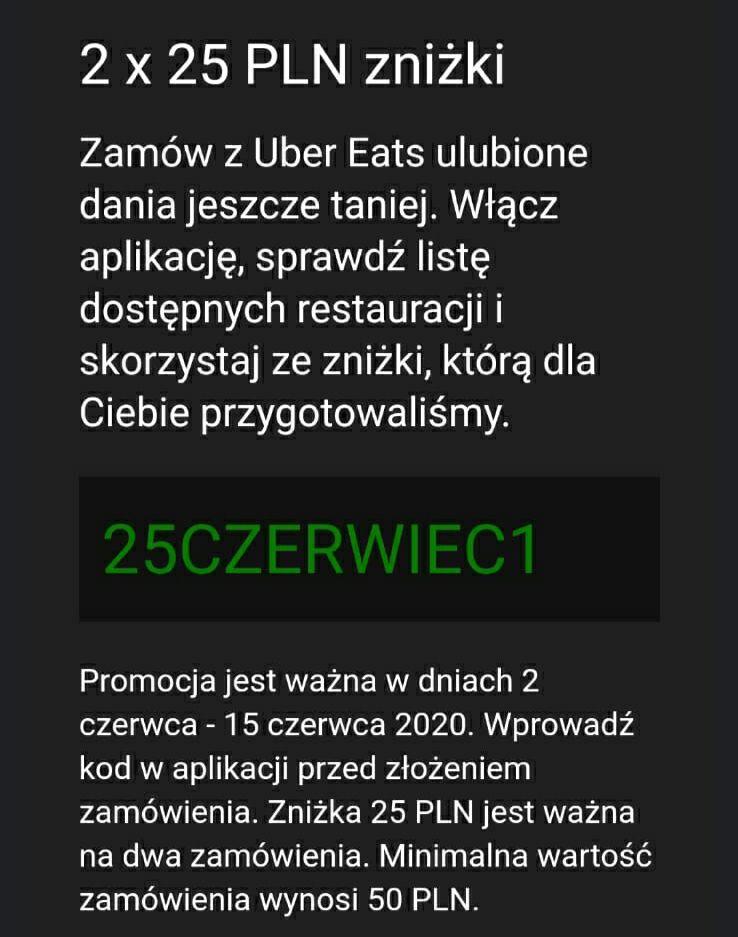 Uber Eats 2x25zł