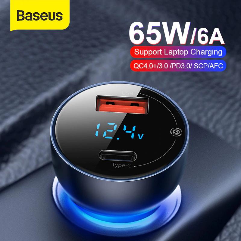 Baseus 65W ładowarka samochodowa QC4 za 11.99$ -47 zł z kuponami sprzedawcy.