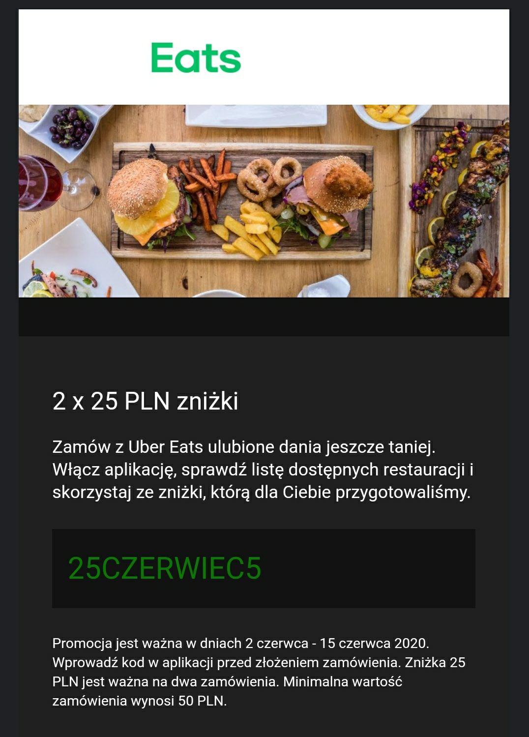 2x25 PLN zniżki z Uber Eats