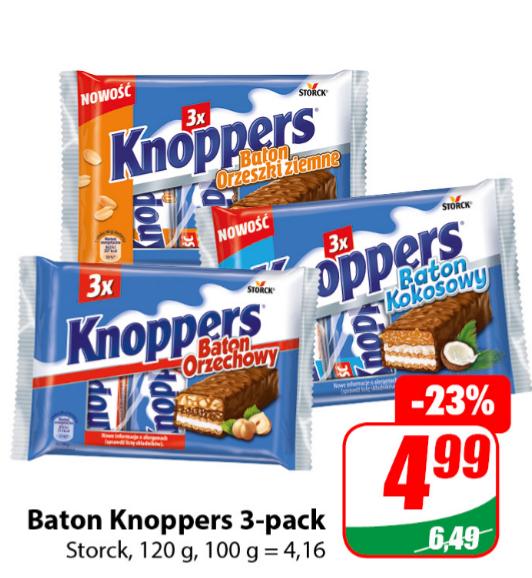Baton KNOPPERS 3-pak, 1,66zł za szt. 3 rodzaje. Dino
