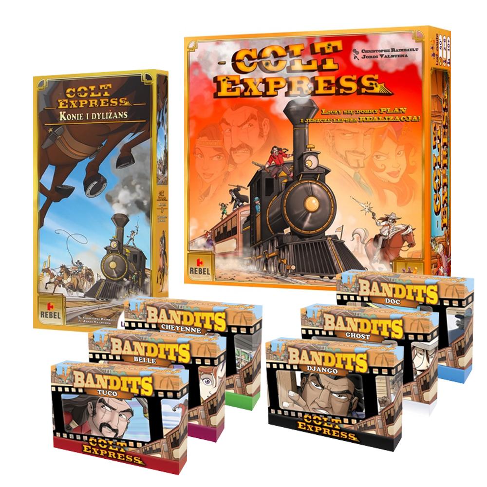 Colt Express + Konie i Dyliżans + 6 bandytów + 2 talie Keyforge gra planszowa