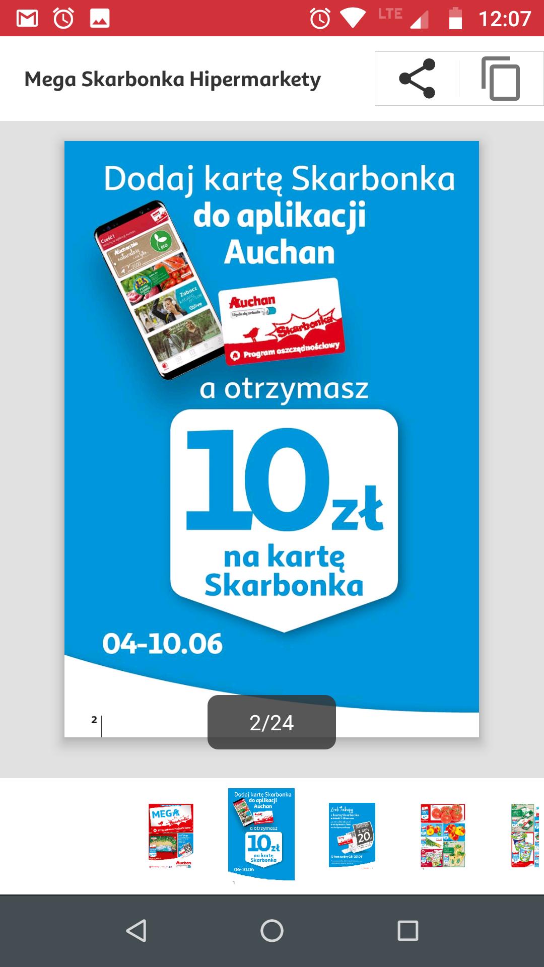 Karta Auchan -10 zł dodatkowo na kartę Skarbonka