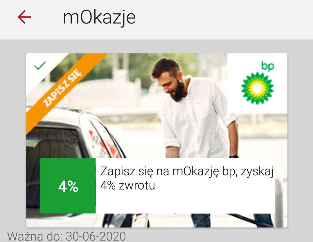 mBank mOkazje cashback 4% (max 15 zł) za zakupy na stacji BP MWZ 100 zł