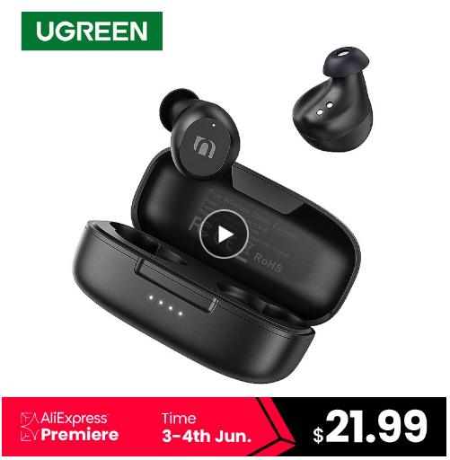 UGREEN TWS słuchawki Bluetooth premiera - 21,99$ -88 zł w aplkacji -1.01$ -84 zł