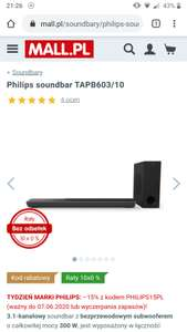 SOUNDBAR PHILIPS TAPB603/10 DOLBY ATMOS 3.1 MALL