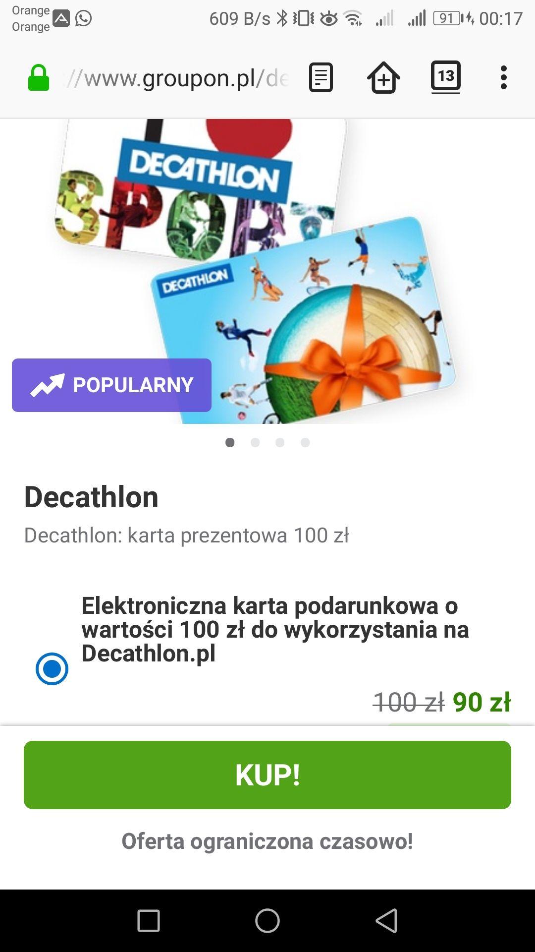 Karta upominkowa Decathlon o wartości 100zł @ Groupon