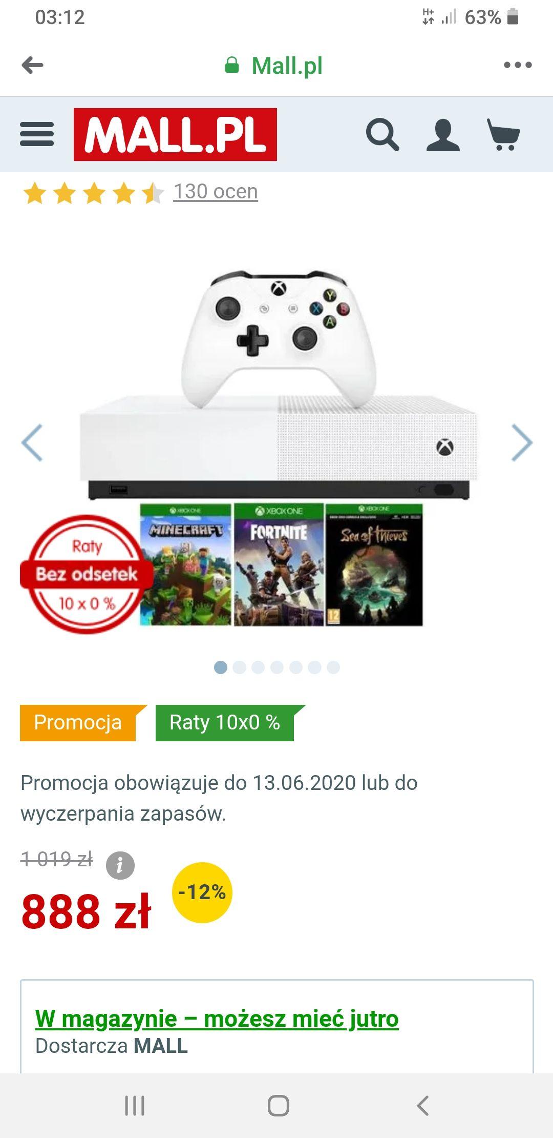 Microsoft konsola Xbox One S All-Digital - 1 TB + Minecraft + Fortnite + Sea of Thieves