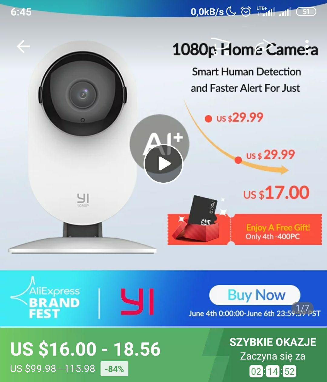 YI kamera 1080P IP inteligentna wewnętrzna kamera IP HD Night Vision AI