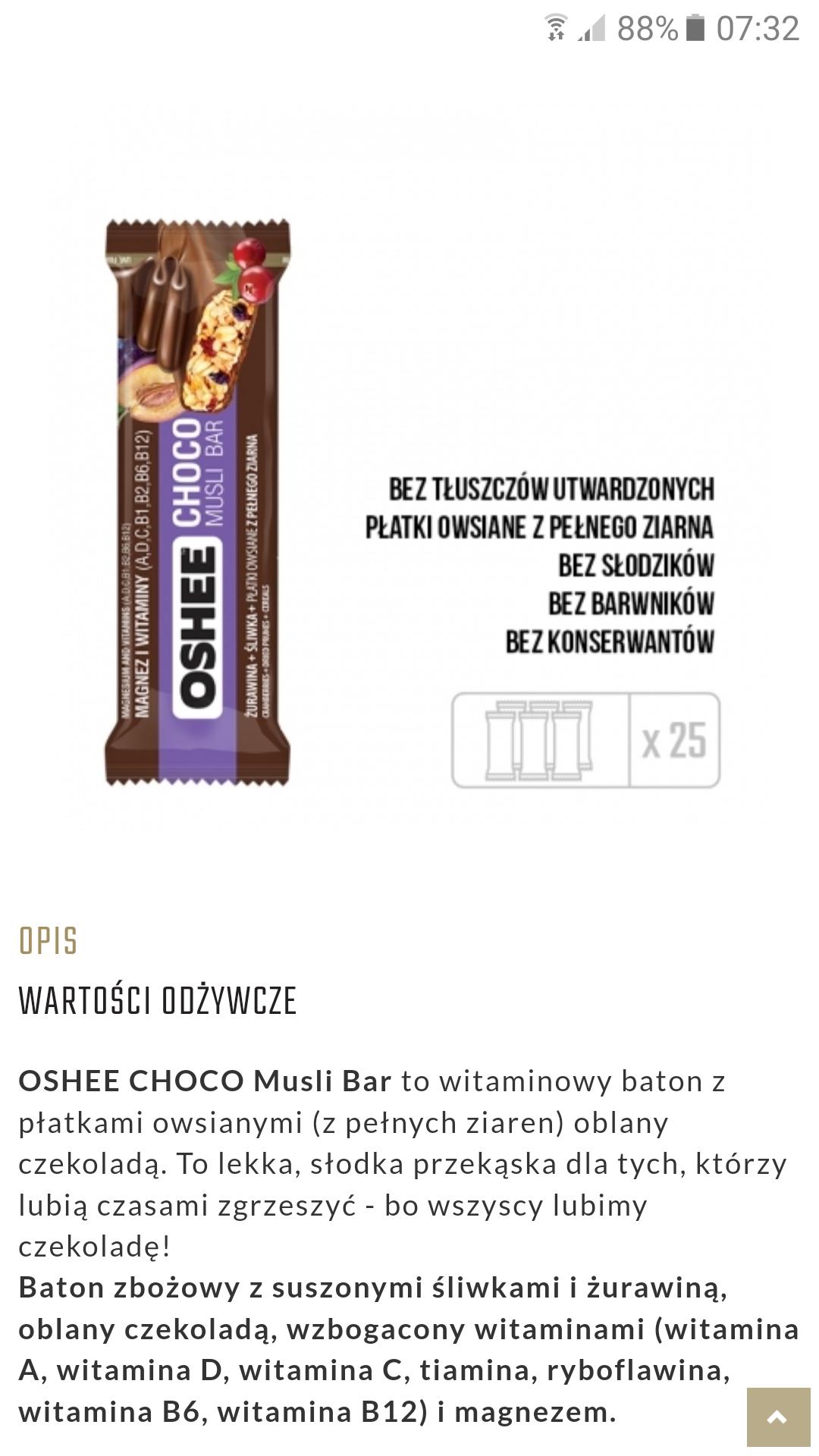 OSHEE baton musli oblany czekoladą śliwka/żurawina 45g. Gdańsk-sklep Merkus