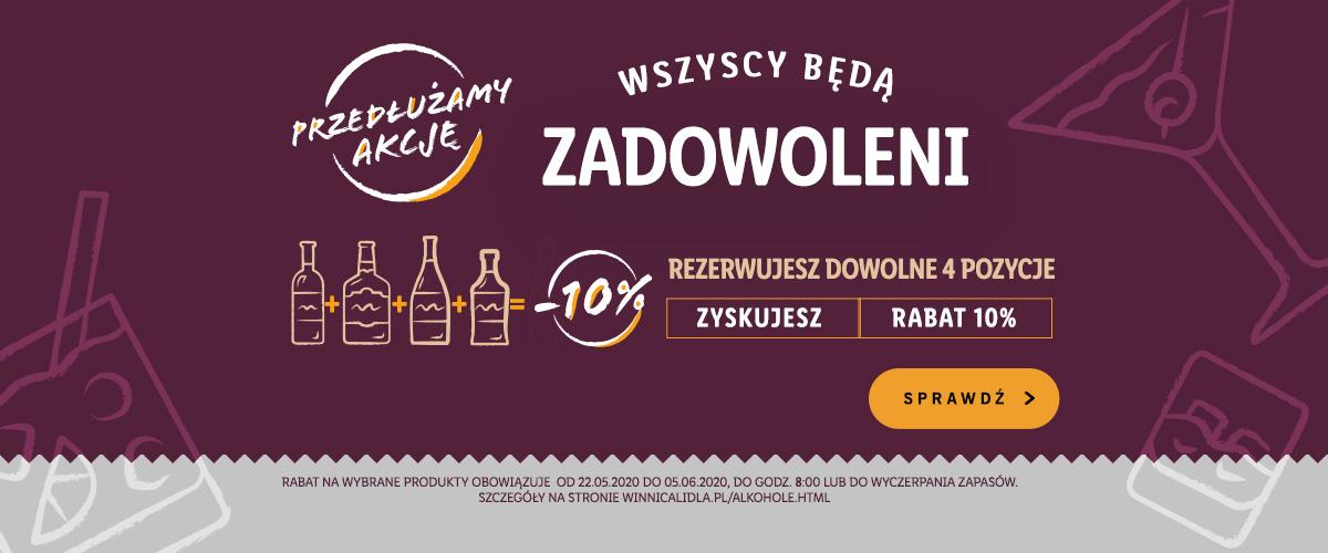 Winnica lidla 10% + 10% + 10% = 27% :P - na wszystie whisky i pozostałe mocne alkohole