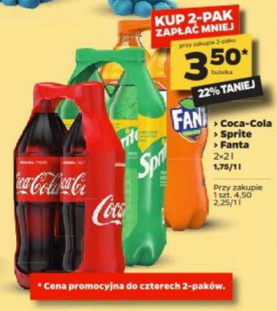 Coca-Cola, Fanta, Sprite w 2-paku 2x2L, 1,75zł za litr Netto