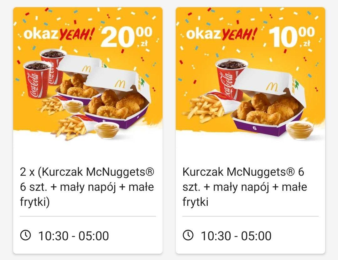 Zestaw McDonald's / McNuggets + maly napój + male frytki