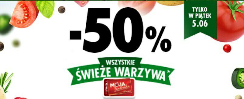 Biedronka, voucher 50% wartości zakupionych warzyw
