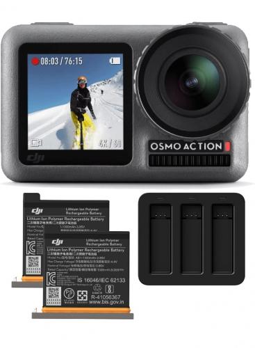Kamera DJI Osmo Action + 2 akumulatory + potrójna ładowarka
