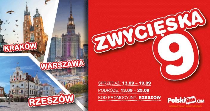 Polski Bus, 9 zł na trasie Rzeszów – Warszawa oraz Rzeszów – Kraków