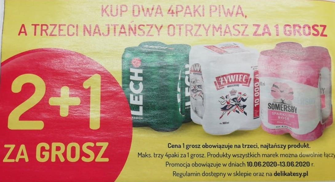 Trzeci 4-pak (czteropak) piwa za 1 grosz Delikatesy Centrum oraz Mila