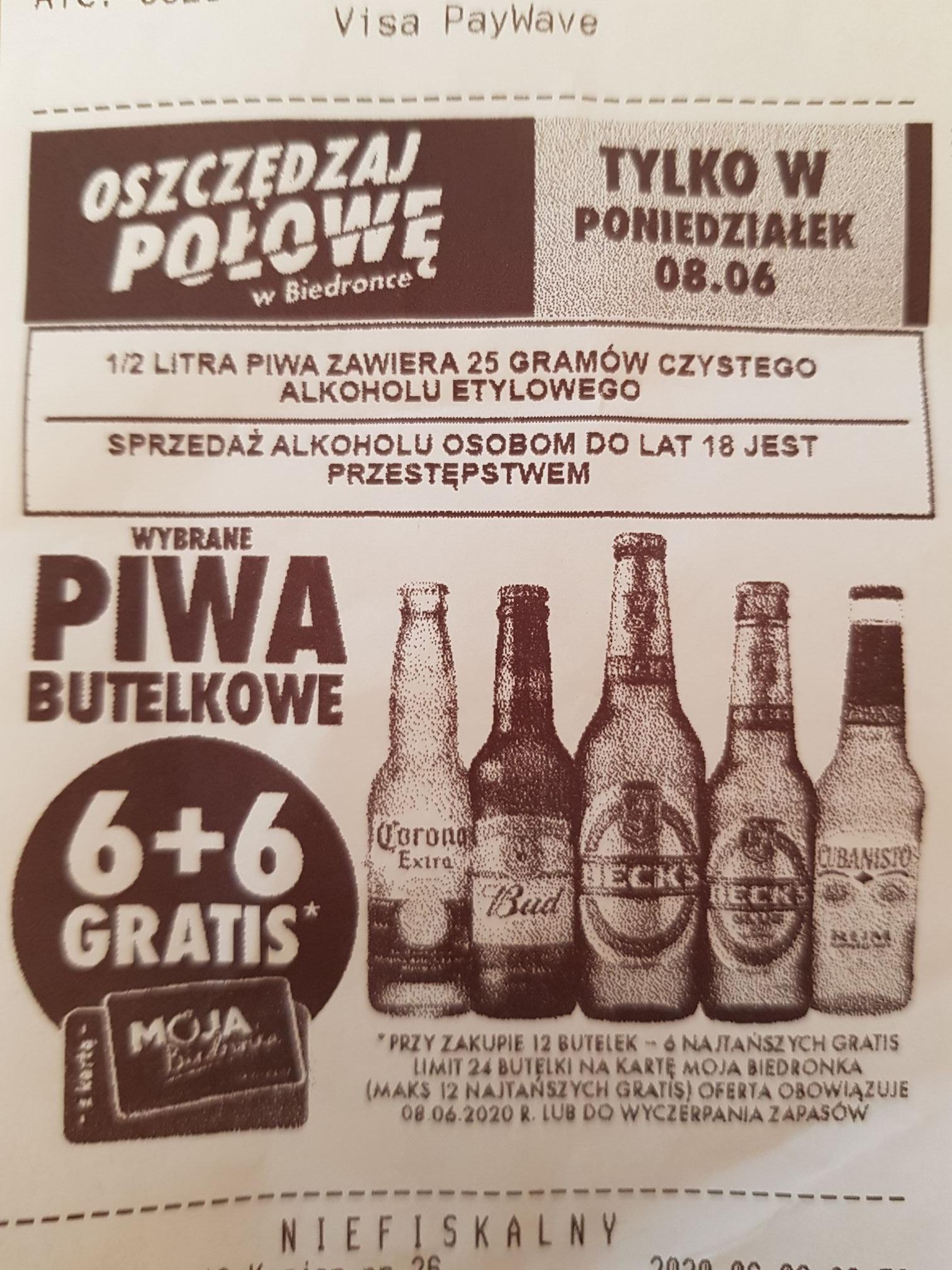 Wybrane piwa butelkowe 6+6 gratis. Biedronka.