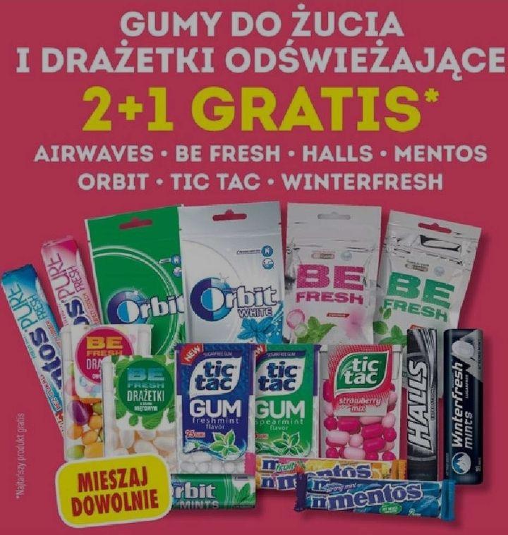 Gumy do żucia i drażetki odświeżające: 2+1 gratis! @ Biedronka