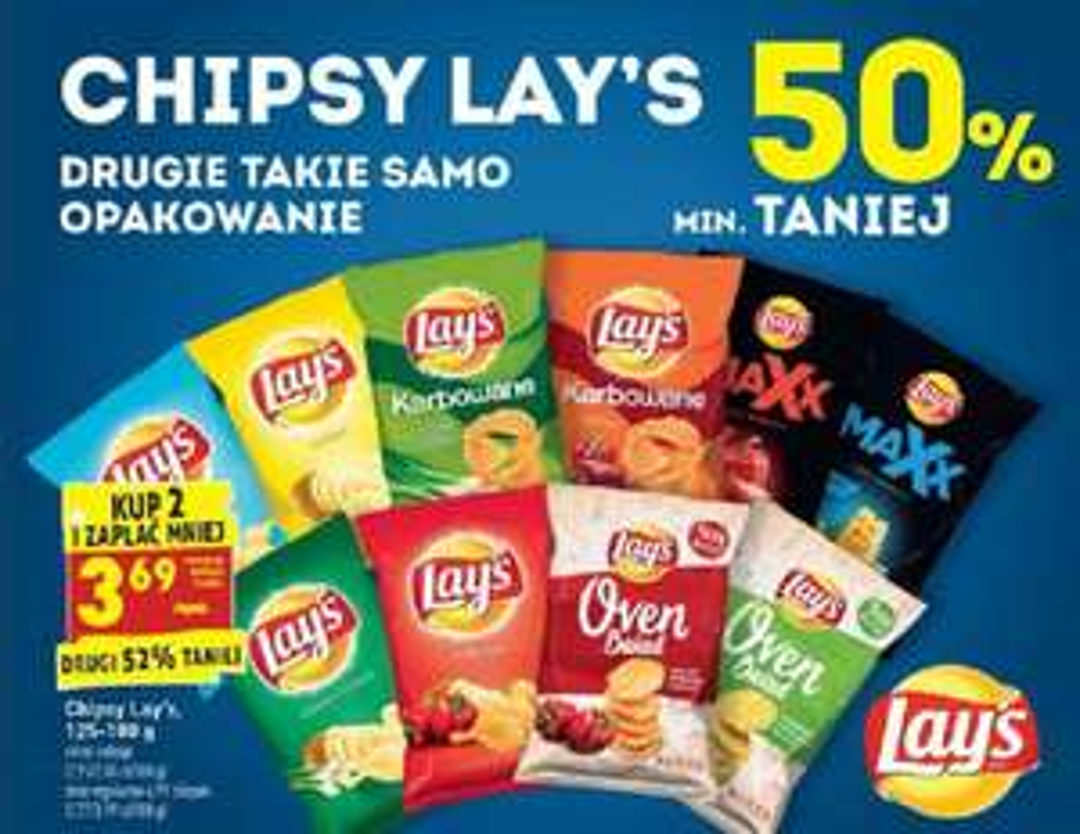 Chipsy Lay's (Lays) 3,69 przy zakupie 2 sztuk w Biedronce. Oven Baked też :)