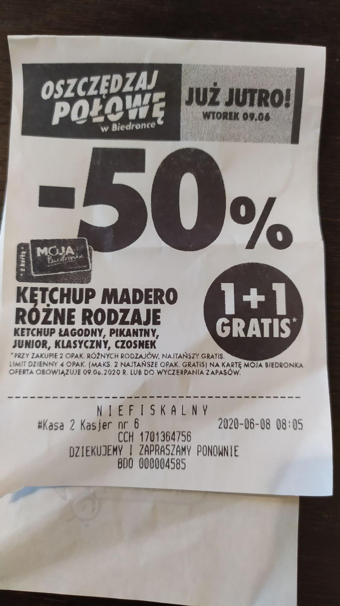 Ketchup Madero Biedronka 1+ 1 gratis