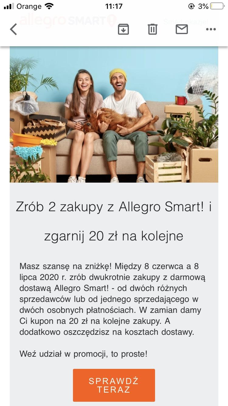 Allegro smart 20 zł ekstra za 2 transakcje!