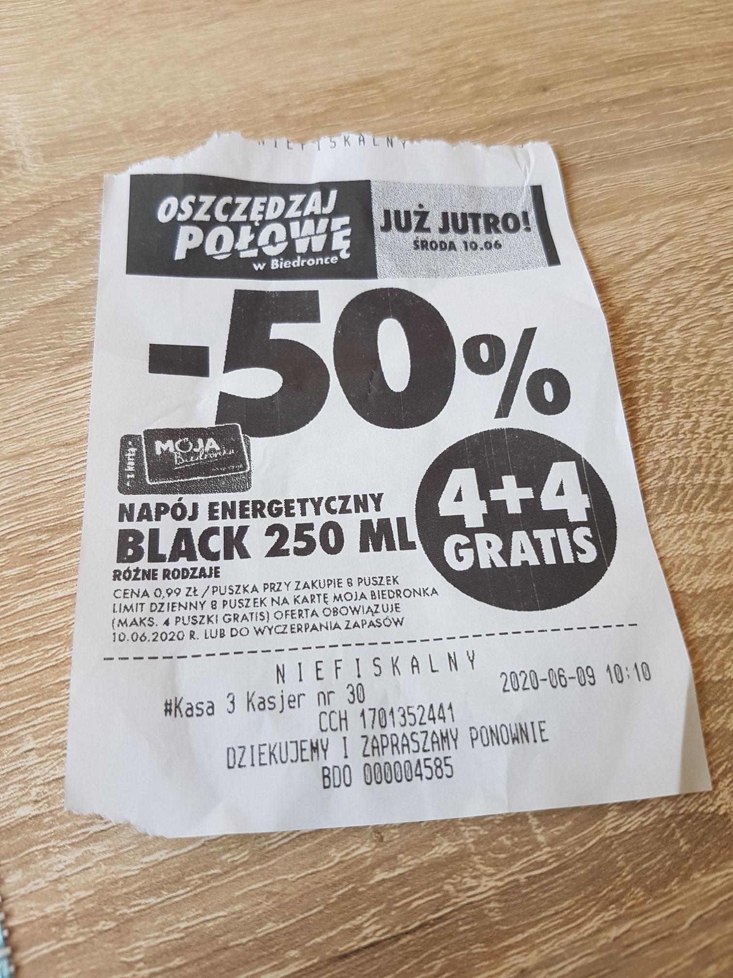 Black energy drink 4+4 za darmo (0,99 zl /puszka przy zakupie 8)