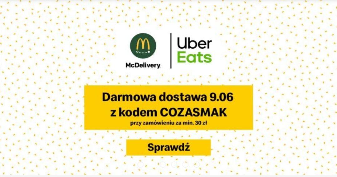Darmowa dostawa z McDonald's w UBER EATS MWZ 30 zł