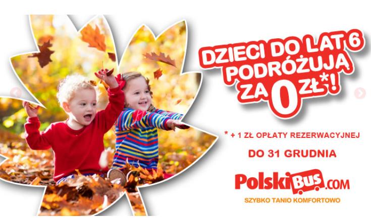 Rodzinne podróże i bilety za złotówkę dla dzieci do lat 6 (promocja przedłużona) @ Polski Bus