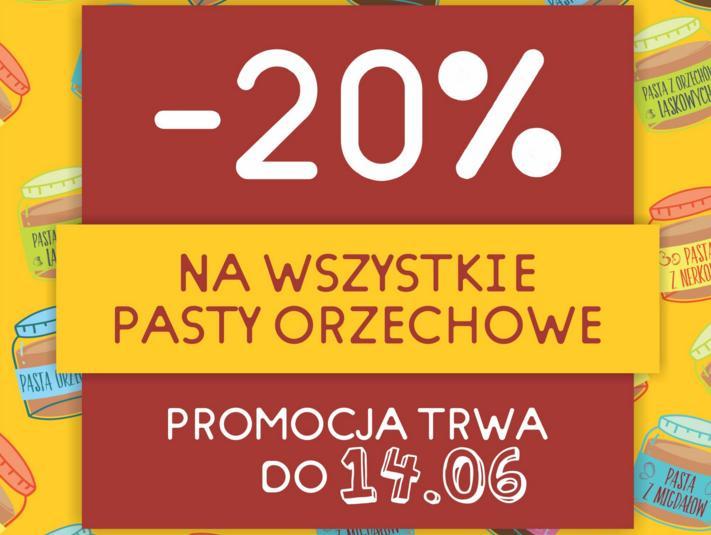 -20% na wszystkie pasty orzechowe Krukam +10% rabatu