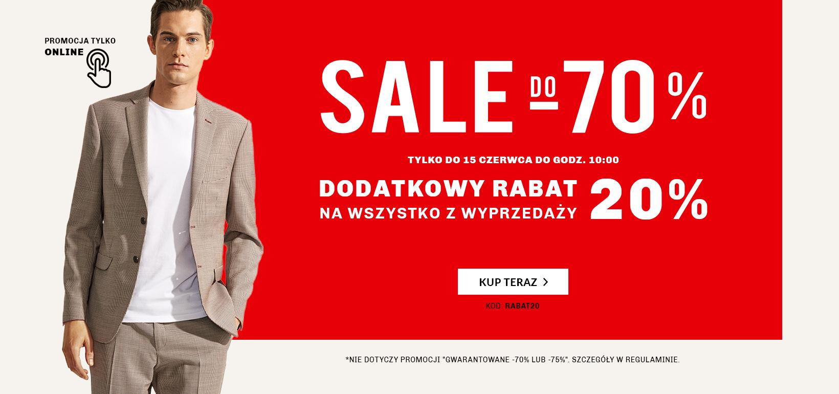 Dodatkowe 20% rabatu na wyprzedaż do -70% na Vistula.pl