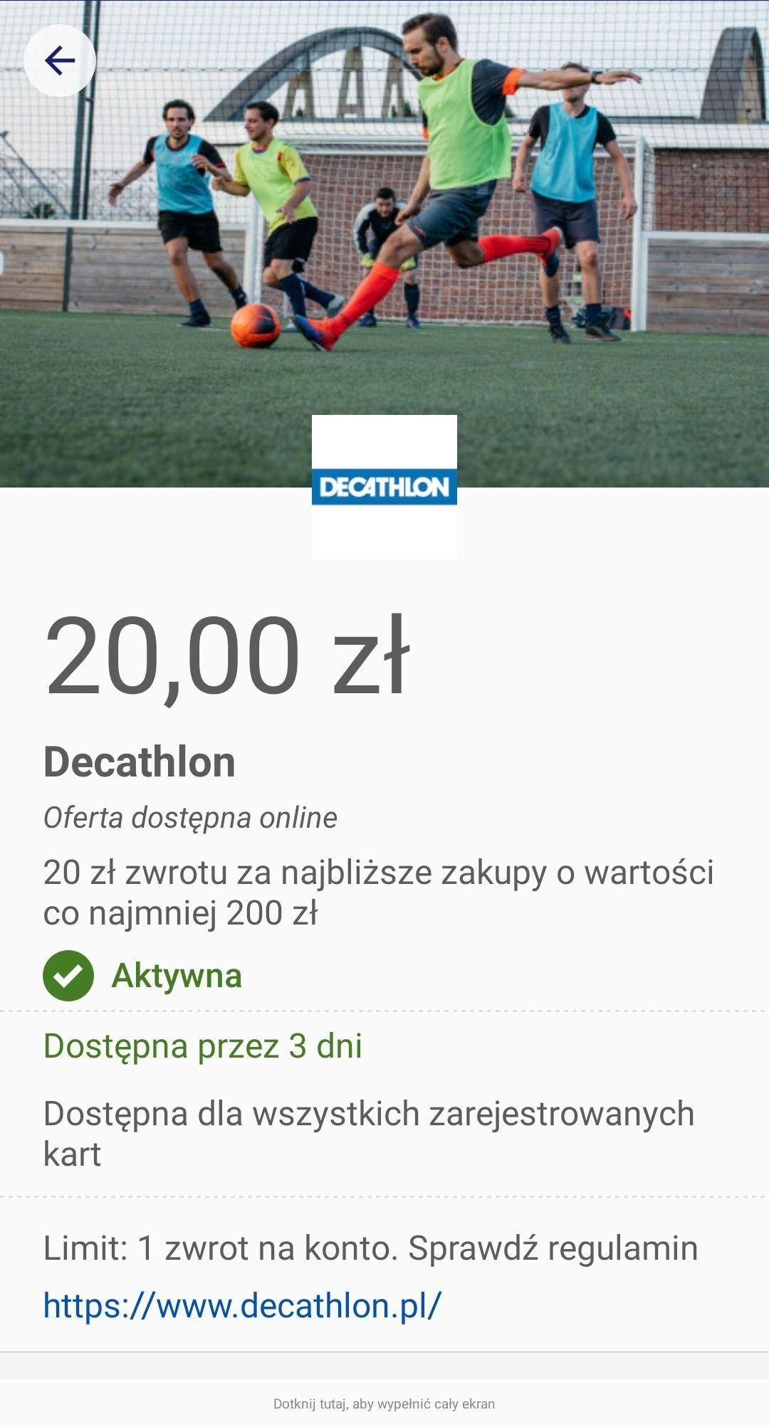 20zl zwrotu za zakupy w Decathlon z Visa Oferty
