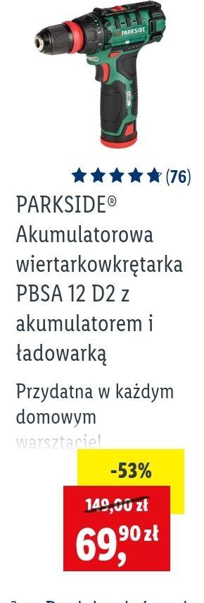 Akumulatorowa wiertarkowkrętarka PBSA 12 D2 z akumulatorem i ładowarką PARKSIDE - Lidl