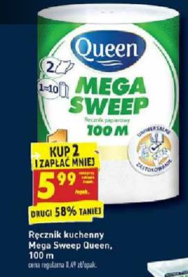 Ręcznik papierowy MEGA SWEEP 100m przy zakupie 2 szt. Biedronka