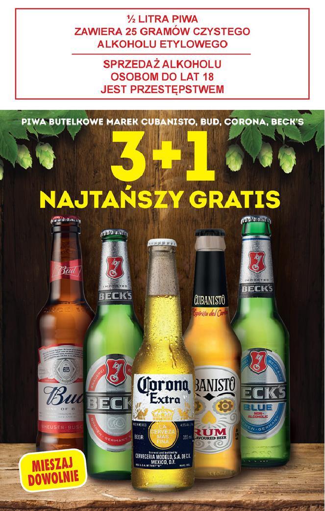 Piwa Cubaniso, Bud, Corona, Beck's 3+1 gratis - Biedronka