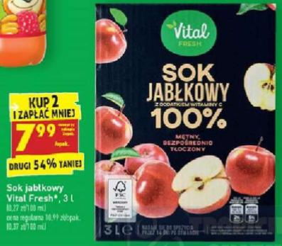 Sok tłoczony jabłkowy NFC 3L Vital Fresh przy zakupie 2 opak. Biedronka