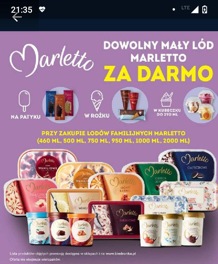 Lody Marletto - przy zakupie lodów familijnych Marletto dowolny mały lód Marletto gratis - Biedronka