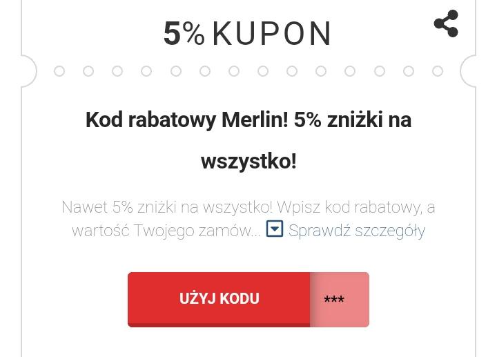 Kod promocyjny -5% na wszystko przy płatności kartą z dowolnego banku!!. @merlin.pl